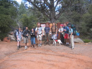 group of young adults after backpacking