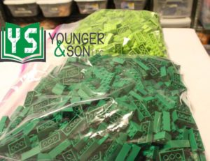 storage bags of green and lime 2x4 bricks