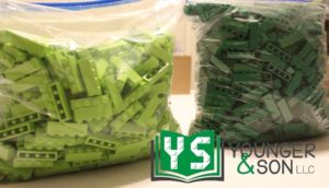 storage bags of green and lime 1x4 bricks