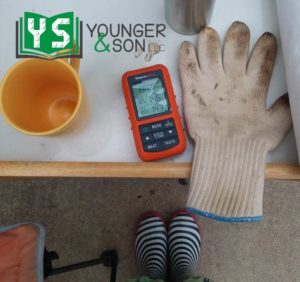 coffee cup, thermometer, oven glove and rain boots